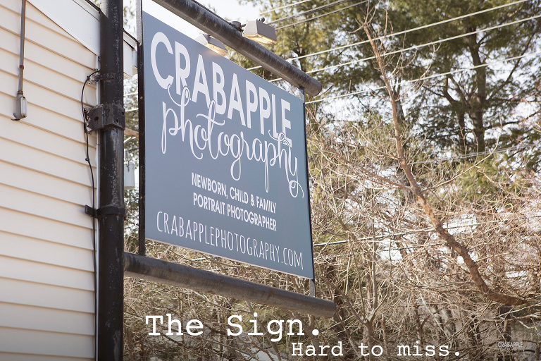 Crabapple Photography sign, located in Andover, Massachusetts.